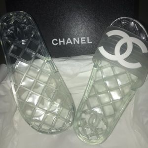 CHANEL Pool Slides Sandals Mule Euro 39
